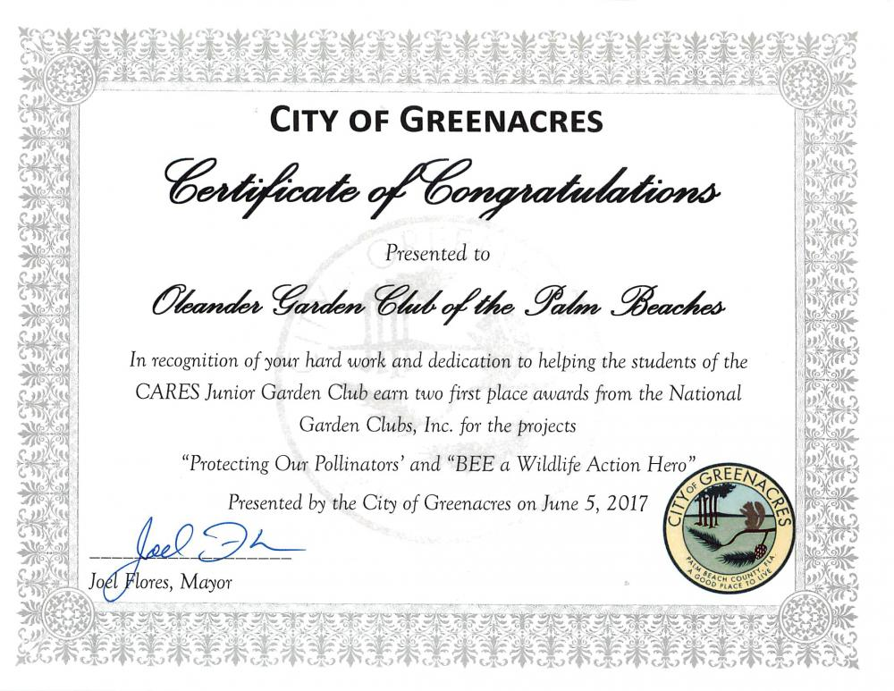 Oleander Garden Club Receives Certificate Of Congratulations